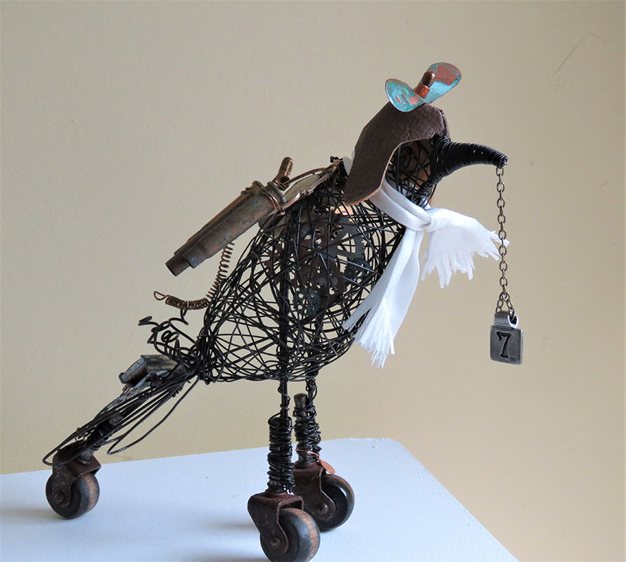 Iris Casey - Corvus Aviator Septem - Wrapped wire, recycled items