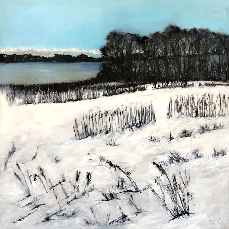Kato Wake - Winter on East Lake - Oil on Mylar