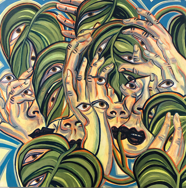 Laura Jean Campbell - symbiotic growth during a pandemic - Oil on birch