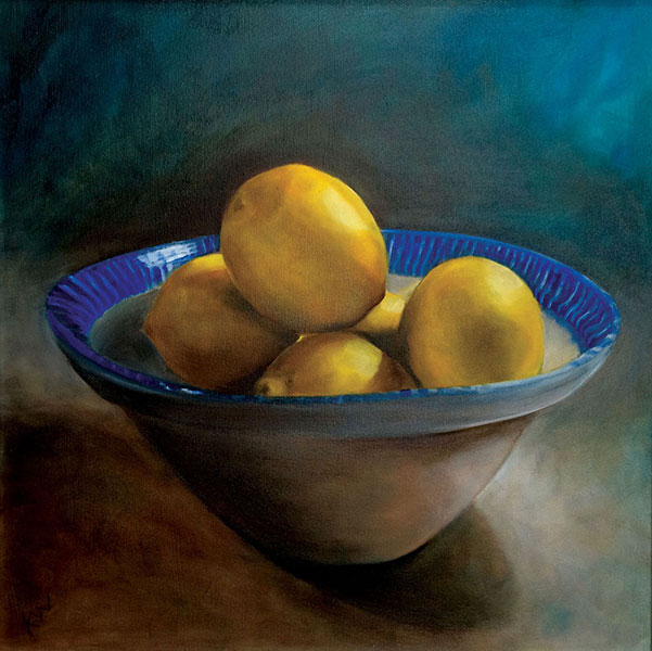 Kato Wake - Lemons in Buffy's Bowl, Oil on canvas