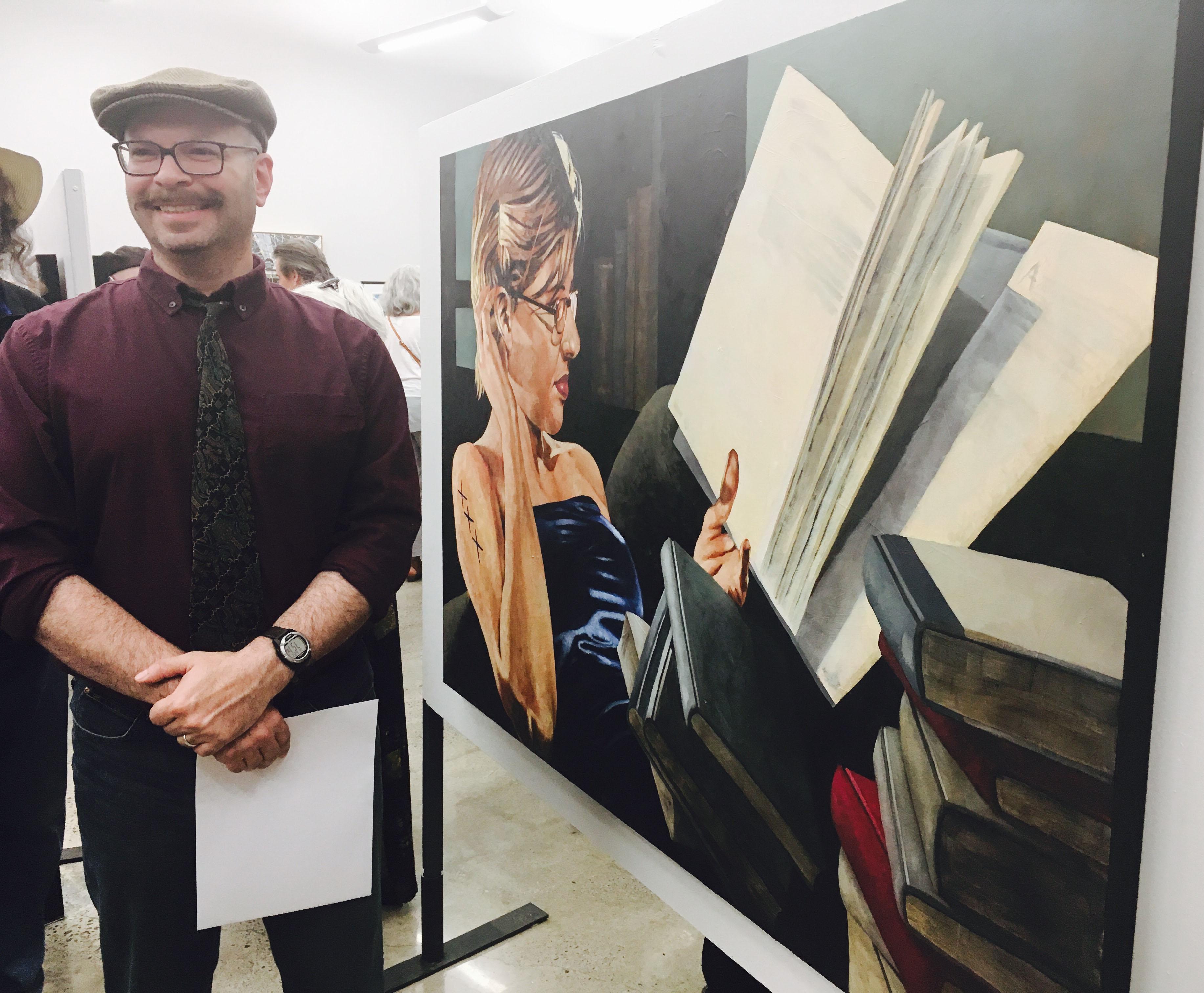 Milé Murtanovski poses alongside his winning entry, Pearls of Wisdom