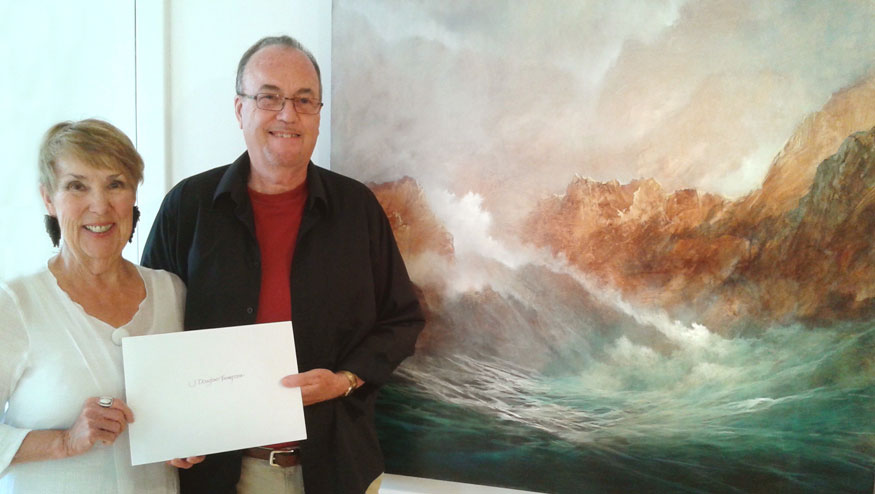 J Douglas Thompson - The Breakers at Evertide - Acrylic on Canvas - People's Choice Award With Bev Skidmore
