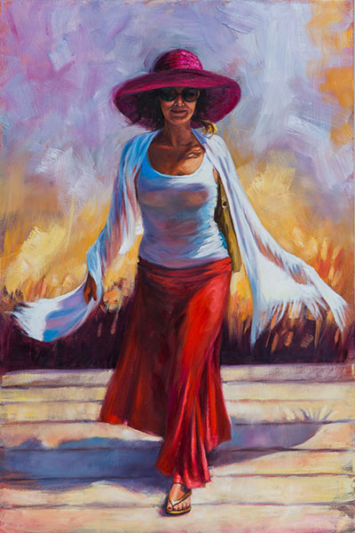 Pam Carter, Boardwalk Beauty, Oil on Canvas