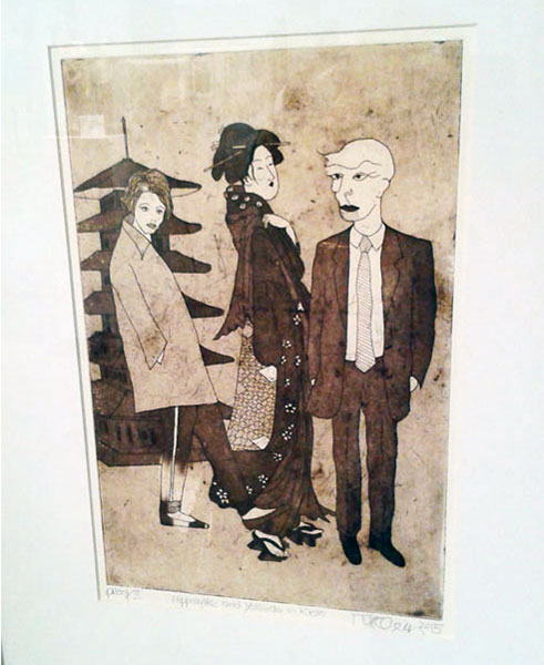 Peter Mennacher, Hypolithe and Yolanda in Kyoto, Etching & Aquatint