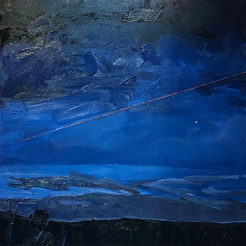 Stewart Jones - Night Lines w Jupiter_HWY 33 - Oil on canvas